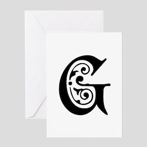 G-pre black Greeting Cards