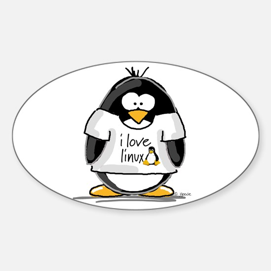 love linux Penguin Oval Decal