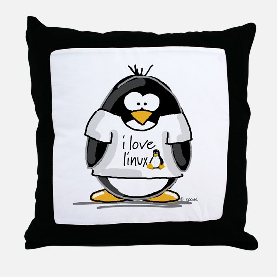love linux Penguin Throw Pillow