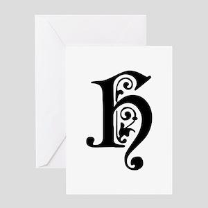 H-pre black Greeting Cards
