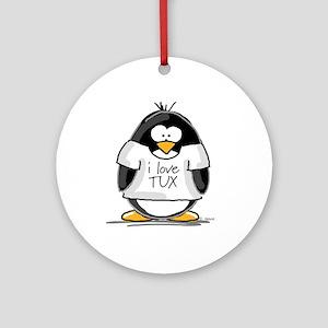 Love Tux Penguin Ornament (Round)