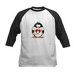 Heart tux Penguin Kids Baseball Jersey