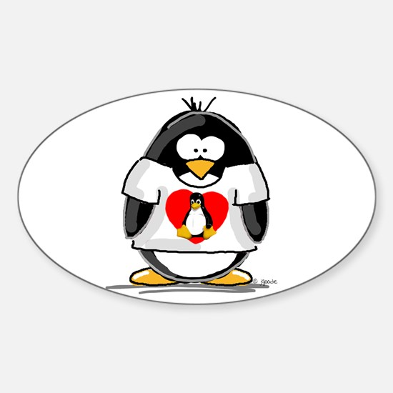 Heart tux Penguin Oval Decal