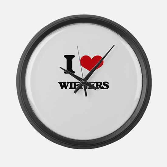 I love Wieners Large Wall Clock