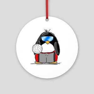 beach volleyball boy Penguin Ornament (Round)