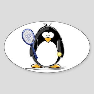 Tennis Penguin Oval Sticker