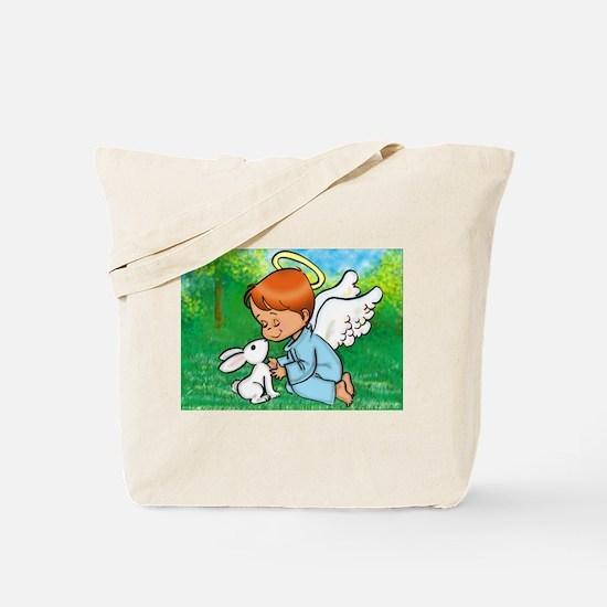 Angel with Bunny Tote Bag