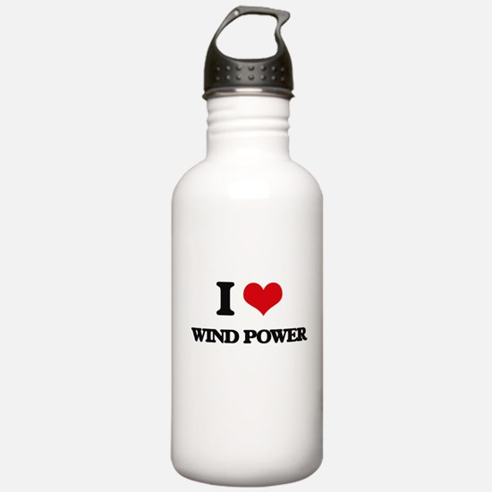 I Love Wind Power Water Bottle
