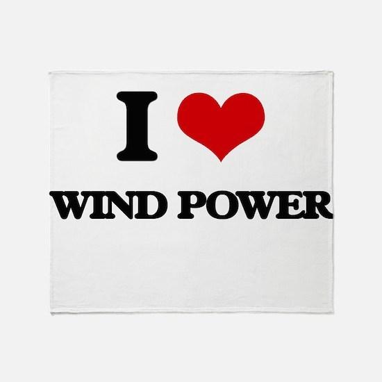 I Love Wind Power Throw Blanket