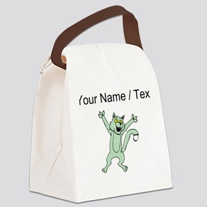 Custom Excited Cat Canvas Lunch Bag