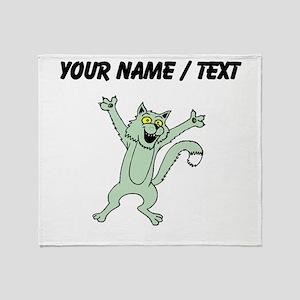 Custom Excited Cat Throw Blanket