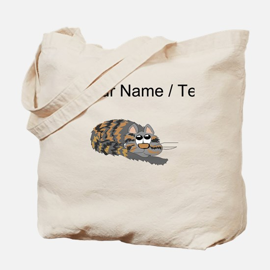 Custom Cat Curled Up Tote Bag