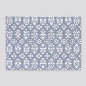 Victorian Blue Lace Damask 5'x7'Area Rug