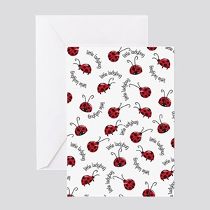 Little Red Ladybugs Greeting Cards