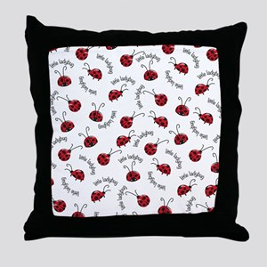 Little Red Ladybugs Throw Pillow