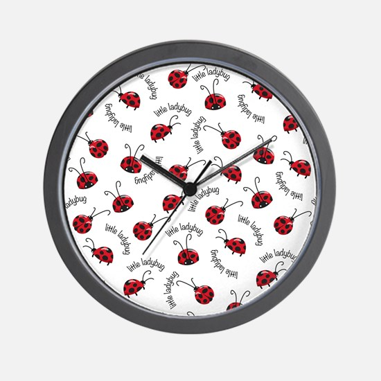 Little Red Ladybugs Wall Clock