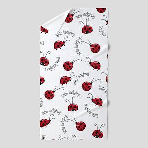 Little Red Ladybugs Beach Towel