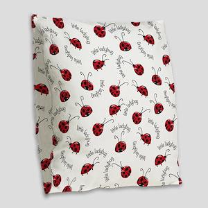 Little Red Ladybugs Burlap Throw Pillow