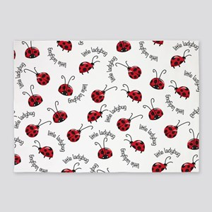 Little Red Ladybugs 5'x7'Area Rug