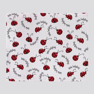 Little Red Ladybugs Throw Blanket