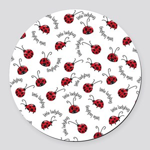 Little Red Ladybugs Round Car Magnet