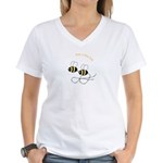Twin Bees Flying Women's V-Neck T-Shirt