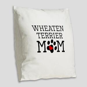 Wheaten Terrier Mom Burlap Throw Pillow