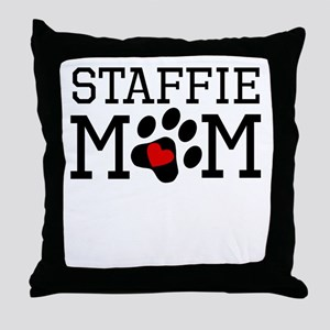 Staffie Mom Throw Pillow