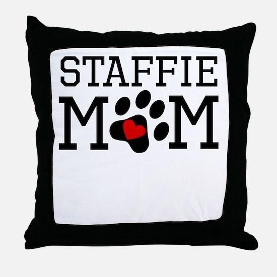 Staffie Mom Throw Pillow