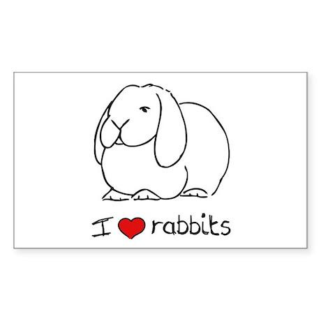 I Love Rabbits Rectangle Sticker