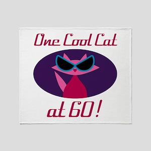 Cool Cat 60th Birthday Throw Blanket