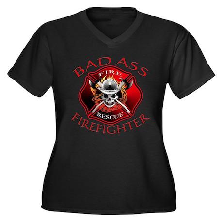Bad Ass Firefighter Women's Plus Size V-Neck Dark