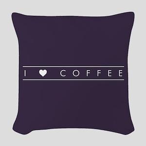 I Heart Coffee Woven Throw Pillow