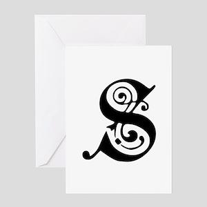 S-pre black Greeting Cards