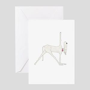 Funny, Dog Yoga / Doga Warrior 1 Pos Greeting Card