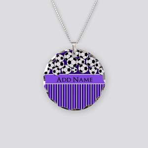 Soccer Balls purple stripes Necklace Circle Charm