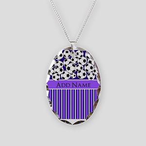 Soccer Balls purple stripes Necklace Oval Charm