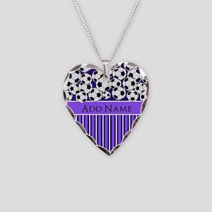 Soccer Balls purple stripes Necklace Heart Charm