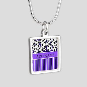 Soccer Balls purple stripe Silver Square Necklace