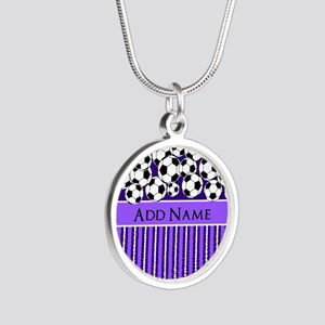 Soccer Balls purple stripes Silver Round Necklace