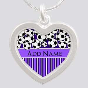 Soccer Balls purple stripes Silver Heart Necklace