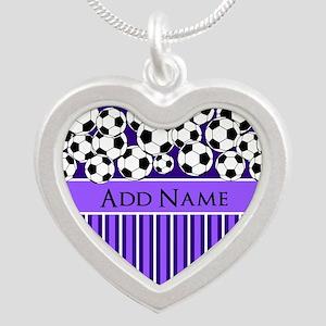 Soccer Balls purple stripes Silver Heart Necklace