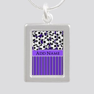 Soccer Balls purple stri Silver Portrait Necklace