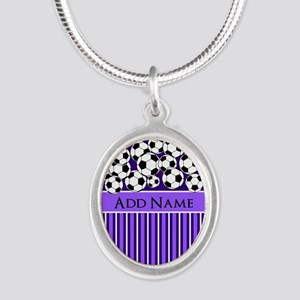 Soccer Balls purple stripes Silver Oval Necklace