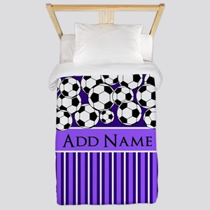 Soccer Balls purple stripes Twin Duvet