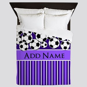 Soccer Balls purple stripes Queen Duvet