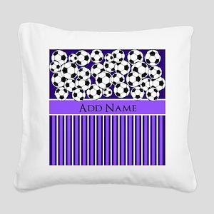 Soccer Balls purple stripes Square Canvas Pillow