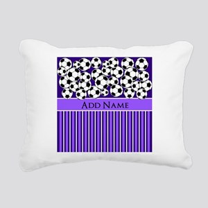 Soccer Balls purple stri Rectangular Canvas Pillow
