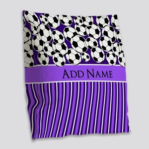 Soccer Balls purple stripes Burlap Throw Pillow