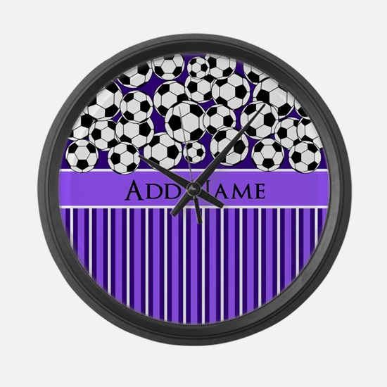 Soccer Balls purple stripes Large Wall Clock